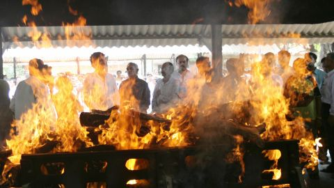 Last rites performed at the cremation of Mumbai terror squad chief Hemant Karkare in November 2008. He was killed during the terror attacks in the city.