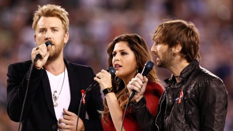 """""""Helping rebuild this community is our biggest priority right now,"""" Lady Antebellum's Hillary Scott (center) said."""