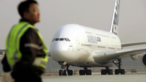 File photo of an Airbus A380 at Beijing's Capital Airport