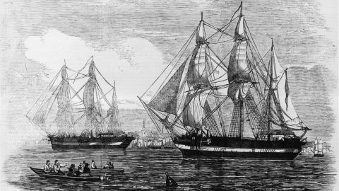 """Artist impressions of the ships """"HMS Erebus"""" and """"HMS Terror"""" used in Sir John Franklin's ill-fated attempt to discover the Northwest passage."""