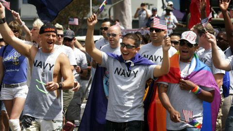 Active-duty troops and veterans march in the San Diego gay pride parade last July.