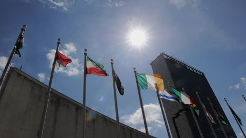 Flags fly outside United Nations headquarters September 19, 2011 in New York in advance of the annual General Assembly.