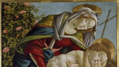 """""""Madonna and Child with the Young St John,"""" c.1500, by Sandro Botticelli. Though he had long created works for the Medici family, art historians say Botticelli's later works suggest emotional anguish -- perhaps relating to the preaching of Savonarola."""