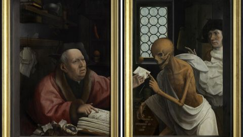 """As society became increasingly mercantile, people worried about the effect of financial activity on the soul. Flemish painter Jan Provoost's """"Death and the Miser,"""" from 1505-10, highlights such worry."""