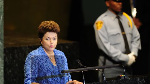 Brazilian President Dilma Rousseff addresses the 66th UN General Assembly at the United Nations headquarters in New York.