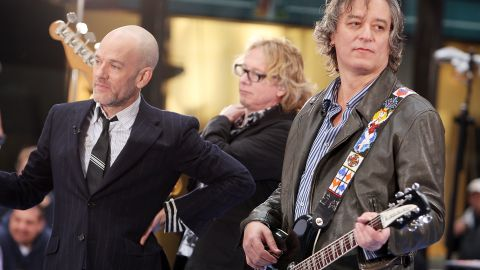 """Michael Stipe, Mike Mills, and Peter Buck of R.E.M. perform on NBC's """"Today"""" show  in 2008."""