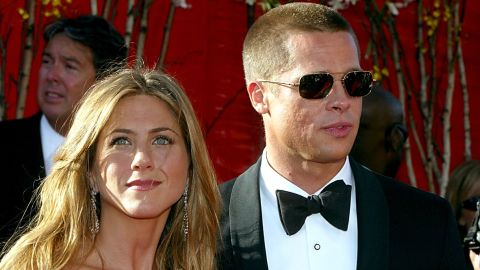 Jennifer Aniston and Brad Pitt at the 56th Annual Primetime Emmy Awards in 2004.