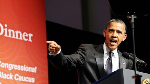 President Barack Obama addresses the Congressional Black Caucus Foundation Annual Phoenix Awards on Saturday.