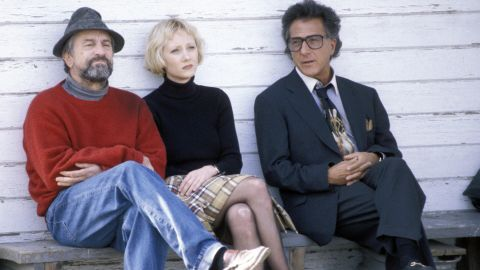 """Dustin Hoffman and Robert DeNiro team up in <strong>""""Wag the Dog"""" </strong>as a producer and spin doctor who create a fake war with Albania to distract the public from a presidential scandal. This dark comedy is a creative look at the manipulation of the mass media in politics."""