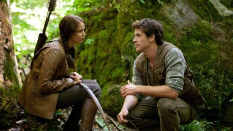 """""""The Hunger Games"""" gives us a heroine named Katniss (Jennifer Lawrence) and her longtime pal Gale (Liam Hemsworth)."""