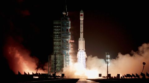 The rocket carrying China's first space laboratory module, Tiangong-1, lifts off from the Jiuquan Satellite Launch Center on September 29, 2011