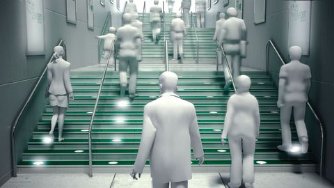 A computer generated image showing PaveGen slabs installed on a subway staircase