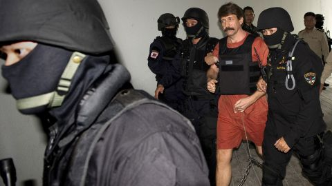 Arms dealer Viktor Bout, shown in Bangkok, is on trial in New York on terror charges. He is linked to 12 U.S. shell companies.