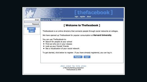 """It was first known as """"Thefacebook"""" when it launched at Harvard University as a way for students to connect. The social-networking site spread to Columbia, Stanford and Yale universities the following month, and the Facebook Wall made its debut in September. By December, Thefacebook had nearly 1 million users."""