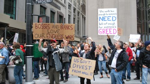 Protesters in the Occupy Wall Street movement rally in downtown Manhattan