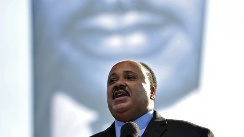 Martin Luther King III, King's eldest son, pays tribute to his father at the dedication ceremony.