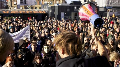 """A crowd of about 3,000 people joined for Occupy Denmark on Saturday, October 15. """"They want money spent on the 99 percent, and they want to take [money] not only from the rich but also from the expenses on wars,"""" iReport contributor Mikkel Wiese said."""