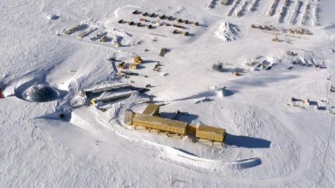 This photo dated October 2002 shows an aerial view of US Amundsen-Scott South Pole Station in Antarctica where Renee-Nicole Douceur has been stranded.