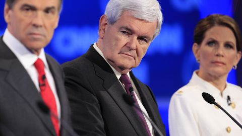 Former House Speaker Newt Gingrich, center, cautioned his rivals in the end to refocus their rhetoric or risk trivializing the campaign.