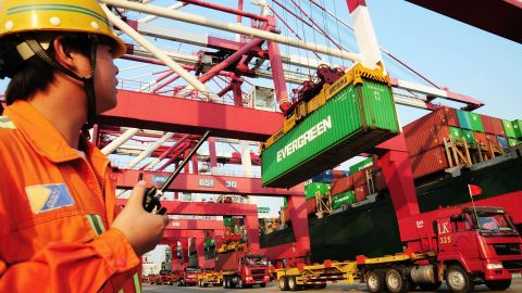 China's trade deficit in February fell 23% from the previous month.