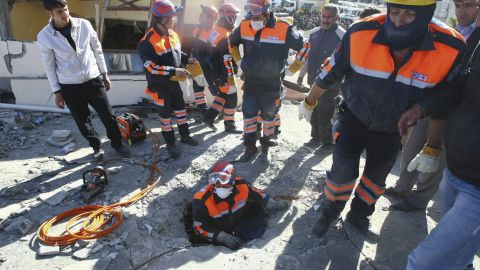 Rescue teams in Van, Turkey, search for survivors on Monday. Sunday's  7.2-magnitude quake struck at 1:41 p.m. local time about 12 miles from Van, the U.S. Geological Survey said.