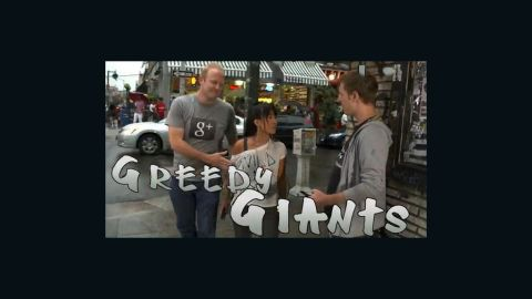 """In a promo video, Unthink dubs a Google rep and a Mark Zuckerberg look-alike """"greedy giants."""""""