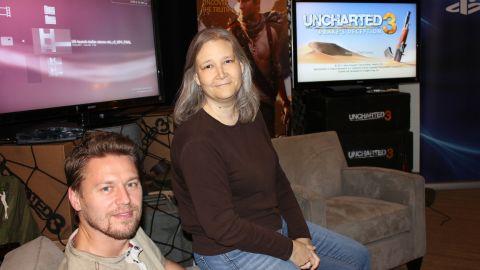 Naughty Dog execs Christophe Balestra and Amy Hennig.