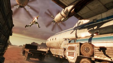 """The makers of video game """"Uncharted 3"""" built their story around cinematic action set pieces."""