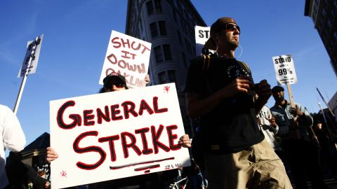 Occupy protesters gather Wednesday in Oakland as they plan for a general strike.