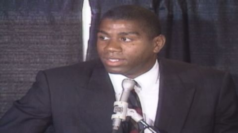 """NBA legend <a href=""""http://www.cnn.com/2013/06/20/us/magic-johnson-fast-facts/"""">Earvin """"Magic"""" Johnson</a> called a press conference on November 7, 1991, to announce that he would be retiring from professional basketball after learning that he was HIV-positive."""