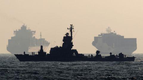 An Israeli navy vessel patrols off the southern port of Ashdod on July 19, 2011.