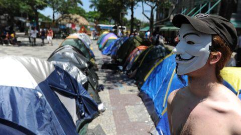 Young Brazilians set up a camp at Cinelandia Square in Rio de Janeiro, Brazil, on October 26.