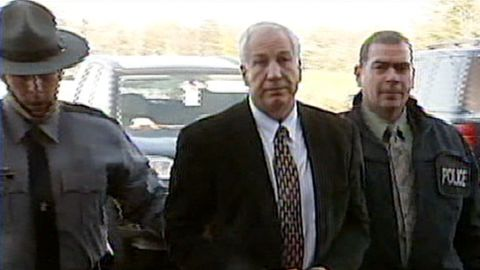 Former Penn State defensive coordinator Jerry Sandusky was arrested Saturday and faces sexual child abuse charges.