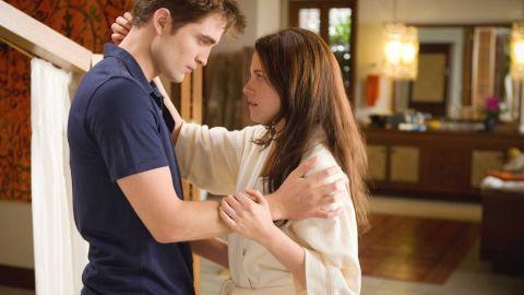 "Robert Pattinson and Kristen Stewart in ""The Twilight Saga: Breaking Dawn -- Part 1,"" which grossed a total of $221.3 million."