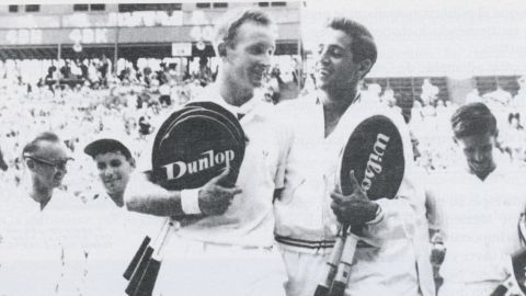 Rafael Osuna walks off court in the 1962 Davis Cup final with Australian legend Rod 'Rocket' Laver.