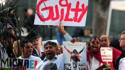 Michael Jackson fans react outside the courthouse where Conrad Murray was found guilty in the singer's death.