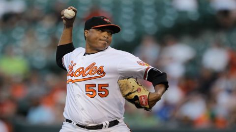 Starting pitcher Alfredo Simon #55 of the Baltimore Orioles as pictured at Oriole Park on July 16 in Baltimore, Maryland.