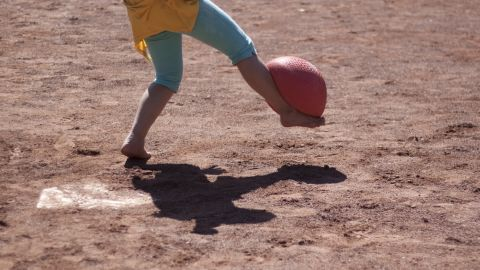For most of the students, kickball is completely foreign, but that doesn't stop them from having fun.