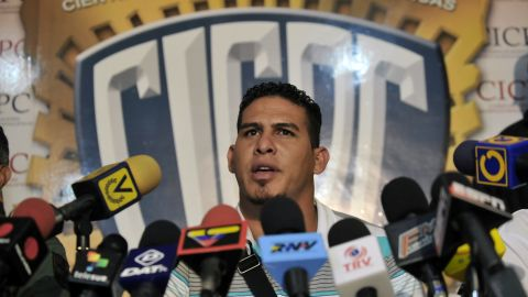 Major league baseball player Wilson Ramos, speaks during a press conference in Valencia, Venezuela after his rescue.