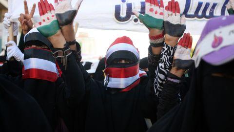 Yemeni anti-regime protesters take part in a protest in Sanaa, demanding President Ali Abdullah Saleh steps down.
