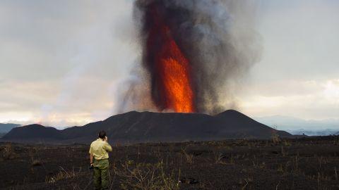 Park ranger Emmanuel stands in the closest area deemed safe by volcanologist Dario Tedesco.