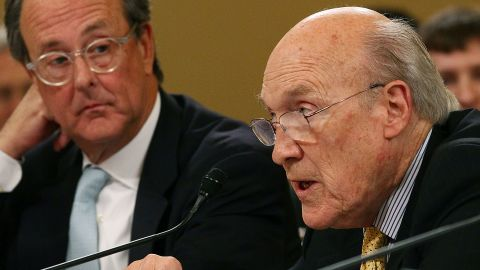 Former Sen. Alan Simpson, right, and Erskine Bowles meet with the debt reduction super committee on November 1.