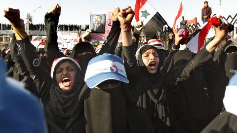 Yemeni women chant slogans at a pro-democracy demonstration in Sanaa, Yemen,  in October 2011.