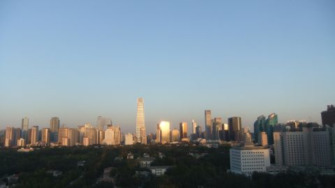 This photo, taken from CNN's Beijing Bureau in September, shows the city on a blue sky day.