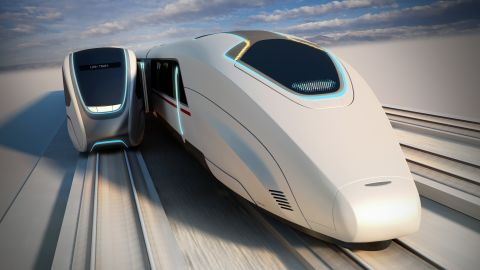 The 'Moving Platforms' concept envisions city-wide tram networks that are integrated with a high-speed rail service.