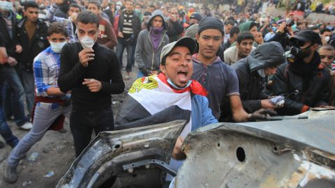 An Egyptian protester shouts on the third day of clashes with security forces at Tahrir Square in Cairo on November 21, 2011.
