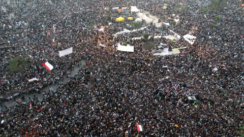 Thousands of protesters gather in Cairo's Tahrir Square on the fourth day of clashes with security forces on Tuesday.