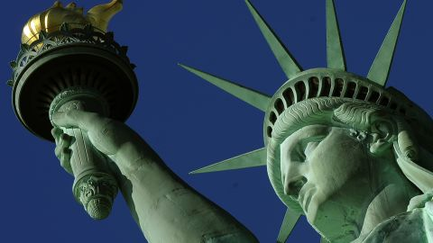 The Statue of Liberty seen on October 28, 2011, the statue's 125th birthday.