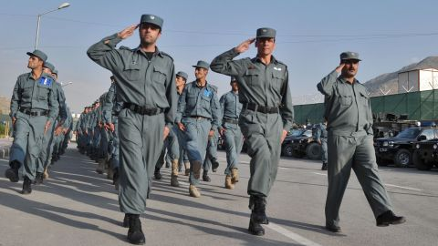 Afghanistan's National Police participate in a march with other Afghan security forces last month in Kabul, Afghanistan.