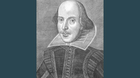 The best-known picture of Shakespeare is this one, from the First Folio, published in 1623. Shakespeare died in 1616; it will be 400 years since his death next year.